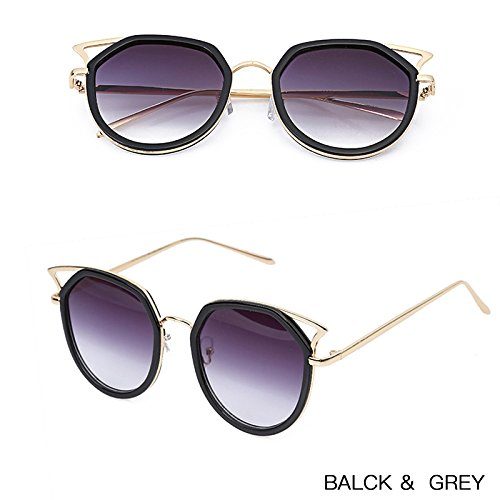 Moda de Retro Grey grey Redonda W ZHANGYUSEN Gafas 2017 Vintage negra Femenino Señoras Mujer Sol de Flor Gafas Bean W xtFvfqp