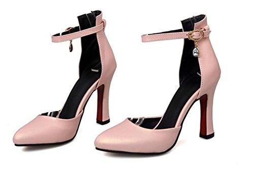 XIE scarpe profonda 39 colore solido 39 aguzza nozze red alto PINK singoli di di scarpe pattini punta professionale di bocca carriera tacco poco fibbia della col diamante tribunale rqr6HZ