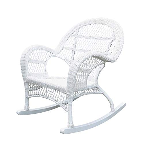 Jeco Rocker Wicker Chair in White