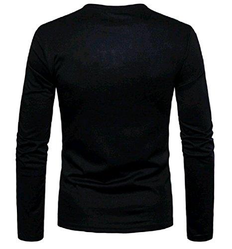 Sleeves Long EnergyMen Pullover Camo Henley Shirt Print Grey Men's nrI4I1xt