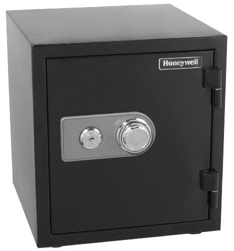 - HONEYWELL - 2105 Steel 2 Hour Fireproof and Water Resistant Security Safe with Dual Dial and Key Lock Protection, 1.23-Cubic Feet, Black