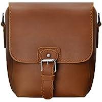 Small Leather Camera Bag ZLYC Vintage DSLR Bag Removable Shockproof Padded Camera Case Unisex Messenger Shoulder Bag Satchel, Brown