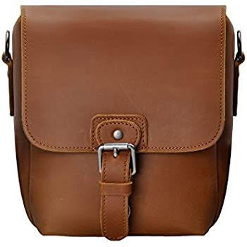 1d34347ef20 Small Leather Camera Bag ZLYC Vintage DSLR Bag Removable Shockproof Padded Camera  Case Unisex Messenger Shoulder Bag Satchel, Brown