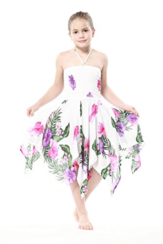 Girl Gypsy Uneven Button Hawaiian Luau Dress in White with Pink and Purple Floral 12 - Aloha White Dress