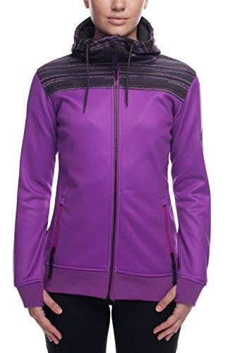 686 Women's Cora Bonded Fleece Pullover Hoody | Waterproof Sweatshirt | Violet Stripe - S