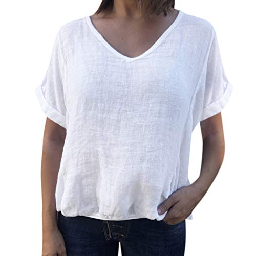 White Plus Size Blouses for Women Casual Loose Solid Color T-Shirt Summer V-Neck Short Sleeve Shirt Splice Tank Tops S-5XL