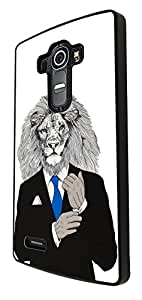 1078 - Cool fun lion head boss man suit inspiration success tie main man nature Design For LG G4 Mini Fashion Trend CASE Back COVER Plastic&Thin Metal - Black