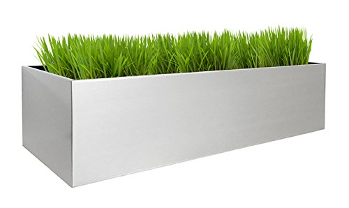 Madeira Window Box Planter w/ ''S'' brackets - 36''L X 9''W X 9''H - Brushed Metal Rectangle Window Planter Set with Heavy Duty Brackets - Aluminum Material - Modern - NMN Designs by NMN Designs