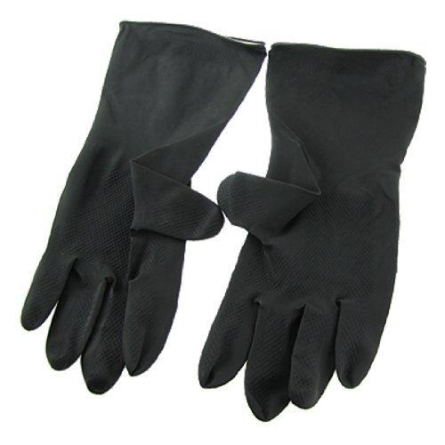 Paire Noir Anti Acide ou alcalines Résistance aux produits chimiques de travail long Gants en latex