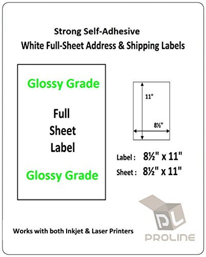 """BESTeck Glossy Grade Full-Sheet 1UP 8.5""""x11"""" Self Adhesive Shipping Address Labels for USPS FedEx UPS Amazon FBA Works Laser and Inkjet Printers (100 Sheets)"""