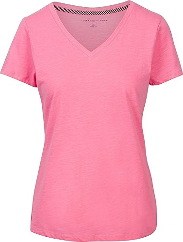 Tommy Hilfiger Womens V-Neck Solid Color Logo T-Shirt - XL - Peony