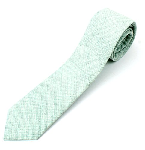 (Men's Linen Skinny Necktie Tie Light White Cross Stich Grid Pattern Distressed Style - Green)
