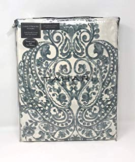 Tahari Chinoiserie Chic Print Bedding China Paisley Block Medallions Design 100% Cotton Duvet Cover 3pc Set Cream Teal (Queen)