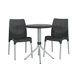 Garden and Outdoor Keter Chelsea 3-Piece Resin Outdoor Patio Furniture Dining Bistro Set with Patio Table and Chairs, Charcoal – 224910