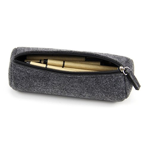 Youngman Fashion Wool Felt Simple Cosmetic Pen Pencil Bag Case Roll-stylish Minimalist Wool Felt Folded Pen Case/pen Holder (22.5*7.5 Cm, Dark-gray) (Black) - Wool Felt Pouch