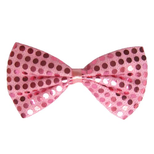 [SeasonsTrading Pink Sequin Bow Tie ~ Fun Costume Party Accessory (STC12098)] (Fun Cheap Easy Halloween Costumes)