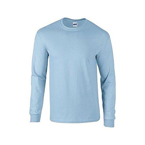 Gildan Mens Plain Crew Neck Ultra Cotton Long Sleeve T-Shirt (M) (Light Blue)