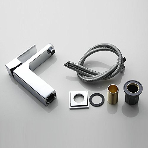 Furesnts Modern home kitchen and Bathroom Sink Taps The square of hot and cold air mixing copper Bathroom Sink Taps,(Standard G 1/2 universal hose ports)