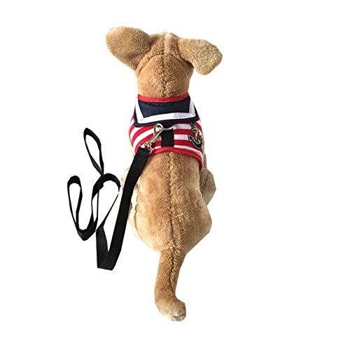 Mogoko Adorable Soft Cat/Dog Safety Walking Mesh Sailor Vest Harness + Matching Lead Leash Set (Adorable Dog Fashion)