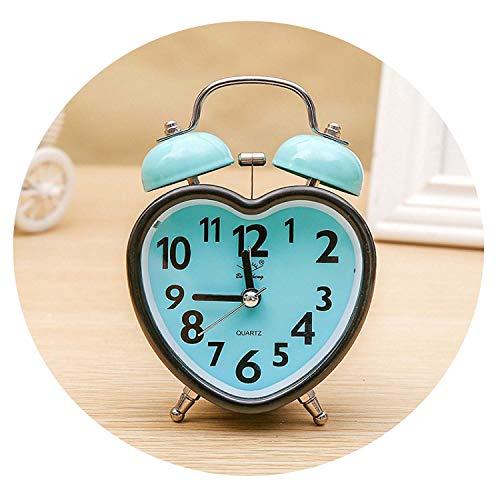 Jfoier Creative Love Heart Design Silent Alarm Clock 2019 New Luminous Electronic Bell Alarm Round Table Clock Relogio de mesa,Sky Blue (Best Music Ringtones 2019)
