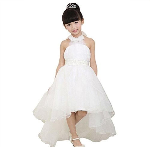 Price comparison product image Baby Girl Party Dress, Gloous Evening Wear Long Tail Elegant Flower Kids Dresses (150, White)