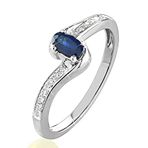 0.43 Ct. Twisted Style Natural White Diamond & Blue Sapphire Engagement Ring 14K White Gold For Women
