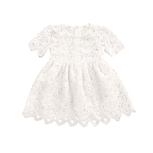 BeautyVan Hot Sale !Knee-Length Party Skirt,New Style Toddler Infant Baby Girl Floral Lace Short Sleeve Princess Formal Dress Outfits (18M, White) -
