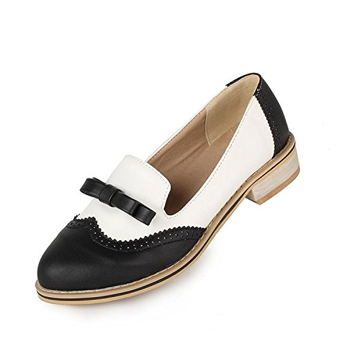 leanna Spring Summer Fashion Vintage Brogue Womens Low Heel Sweet Bowknot Oxfords Shoes Candy Color Black l6kIcyQ