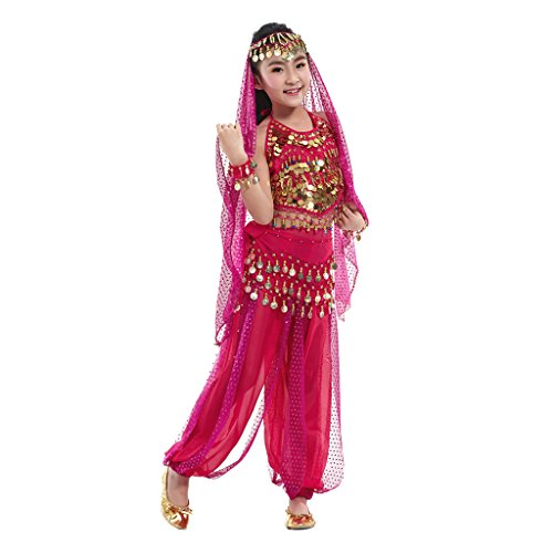 [Pilot-trade Kid Elegant Belly Dance Suit for Children Costume 5 Pieces ( Dark Pink , XL )] (Child Dance Costume)