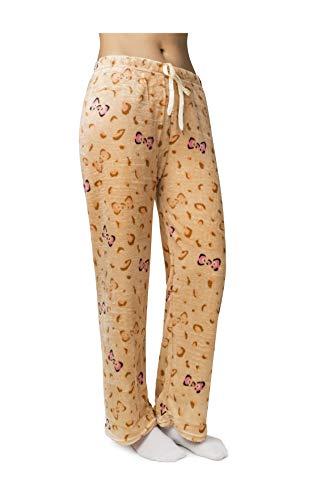 Women's Super Soft and Cute Minky Plush Fleece Pajama Pants (Large, Leopard - Beige)