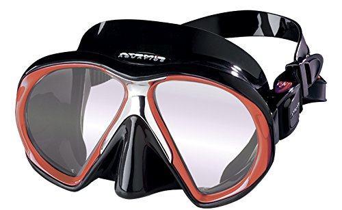 Atomic Sub Frame MEDIUM FIT Scuba Diving Mask with ARC Lens Anti-Reflective Coating (Black/Red)