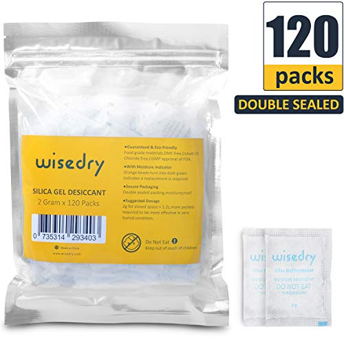 wisedry 2 Gram [120 Packs] Small Silica Gel Packets Desiccants with Indicating Beads for Food Storage Moisture Absorbers Bags for Storage Food Grade