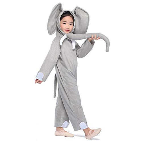 Elephant Costume Kid Animal Cosplay Jumpsuit Halloween Fancy Dress Outfit (Elephant, -