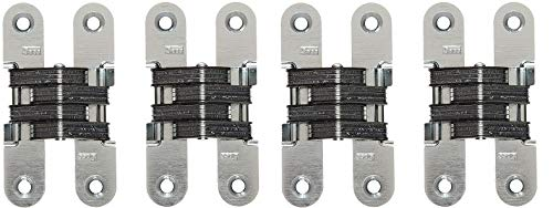 SOSS 212US26D Mortise Mount Invisible Hinge with 4 Holes, Zinc, Satin Chrome Finish, 3-3/4'' Leaf Height, 3/4'' Leaf Width, 1-5/64'' Leaf Thickness, 10 x 1-1/4'' Screw Size (4-(Pack))