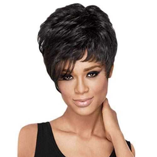 Human Hair Synthetic Pixie Fluffy Wigs Women Slightly Short Black Boy Curly Cut -
