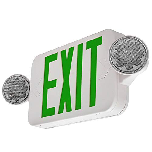 LFI Lights - UL Certified - Hardwired Green Compact Combo Exit Sign Emergency Light - High Output- ()