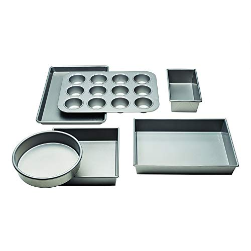 Chicago Metallic 5229028 Commercial II Non-Stick 6-Piece Bakeware Set, Silver