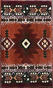(Concord Global Trading Southwest Native American Door Mat Area Rug Rust Terra Cotta Burgundy Green Beige Concord Design C318 (3 Feet X 4 Feet 7 Inch))