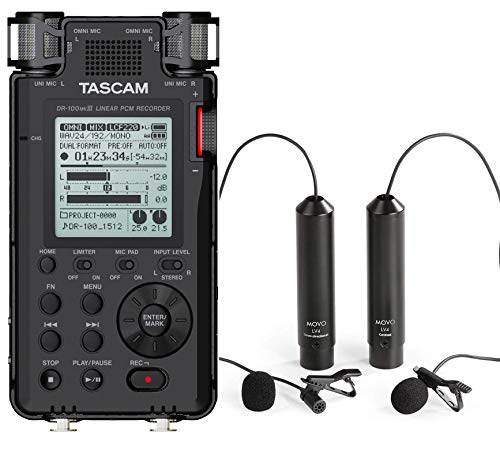 Tascam DR-100mkIII Linear PCM Stereo Handheld Digital Audio Recorder Bundle with Movo Omnidirectional and Cardioid XLR Lavalier Microphones