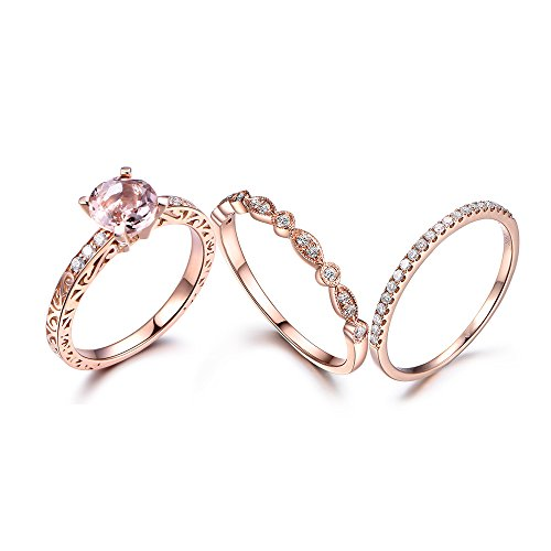Diamond Deco Style Ring (14k Rose Gold Engagement Rings Set,7mm Round Pink Morganite Deco Ring Half Eternity Diamond Wedding Band)