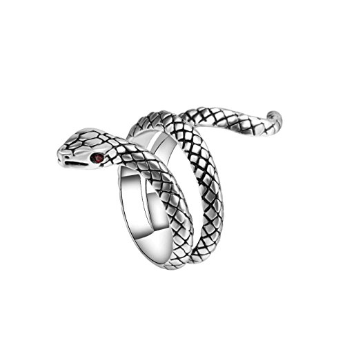 Gothic Mens Rings - BRBAM Adjustable Gothic Punk Style Coiled Snake Ring Unisex Retro Jewelry Gift (Style 1-Silver)
