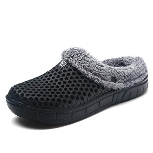Puremee Men's Women's Slippers Fluffy Fleece Lined Winter Indoor Outdoor Non-Slip House Slip on Garden Clogs -
