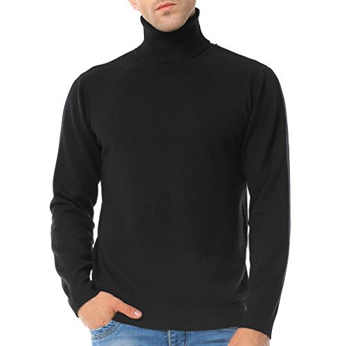 Just No Logo Men's Basic Turtleneck Pullover Solid Sweater(Black,M)