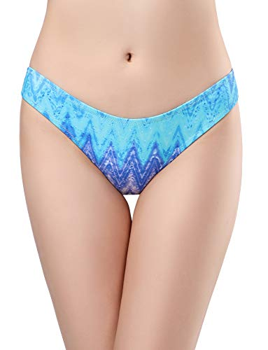 (SHEKINI Women's Swimwear Swim Shorts Briefs Cheeky Ruched Hipster Bikini Bottoms (X-Large, Sky Blue - B) )