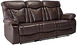 Coaster Home Furnishings Zimmerman Modern Plush Padded Arm Contrast Stitching Motion Three Seater Sofa - Dark Brown Faux Leather