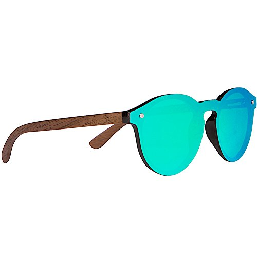 Woodies Walnut Wood Foster Style Sunglasses with Flat Mirror Polarized Lens (Green)