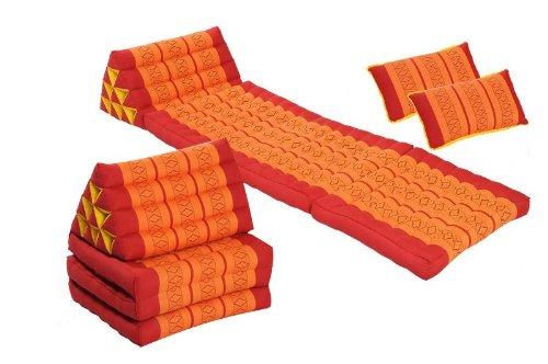 Dreaming Tangerines Set: 2x Triangle 3-Fold Mattresses (67x20) + 2 Pillows (18x11), Red&Orange, (100% KapokFilling) by Handelsturm