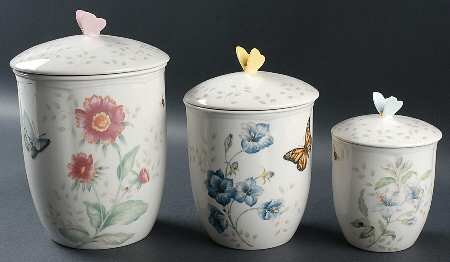 Lenox Butterfly Meadow 3 Pc Canister Set (Box Set), Fine China Dinnerware