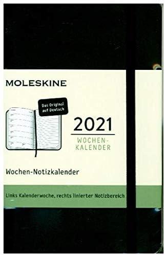 Moleskine Wochenkalender 2021, 12 Monate Wochenplaner horizontal in Deutsch, weicher Einband , Format Pocket 9 x 14 cm, Farbe Schwarz, 144 Seiten