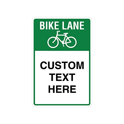 "Bike Lane Traffic Sign with 3 Customizable Lines | Bicycle Graphic | Engineer Grade Reflective Aluminum | High Visibility Traffic Sign | Green and White Sign 24"" Tall X 18"" Wide"